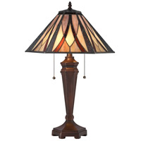Foursquare 24 inch 60 watt Tiffany Bronze Table Lamp Portable Light