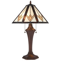 Dimond Lighting D4086 Foursquare 24 inch 60 watt Tiffany Bronze Table Lamp Portable Light