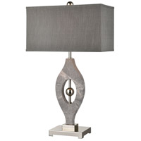 Psykhe 32 inch 150 watt Grey Marble with Polished Nickel Table Lamp Portable Light