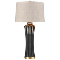 Nightfall 32 inch 150 watt Matte Black with Brushed Brass Table Lamp Portable Light