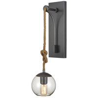 Dimond Lighting D4244 Haute Collar 1 Light 6 inch Pewter/Natural Rope/Clear Sconce Wall Light