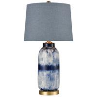 Dimond Lighting D4316 Scatter 27 inch 150 watt Dark Blue Glaze and Matte Brushed Gold Table Lamp Portable Light