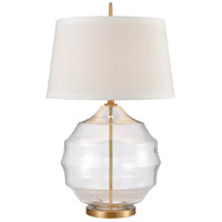 Nest 33 inch 150 watt Clear/Matte Brushed Gold Table Lamp Portable Light