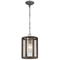 Dimond Lighting D4327 Renaissance Invention 1 Light 8 inch Aged Wood and Weathered Zinc Mini Pendant Ceiling Light, Long