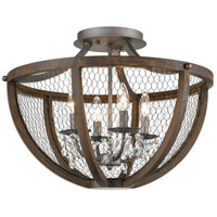 Dimond Lighting D4330 Renaissance Invention 4 Light 22 inch Aged Wood and Weathered Zinc Semi Flush Mount Ceiling Light Round
