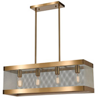 Dimond Lighting D4334 Line in the Sand 4 Light 28 inch Satin Brass/Antique Silver Chandelier Ceiling Light