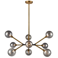 Aged Brass/Matte Black Glass Chandeliers