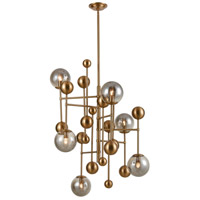 Dimond Lighting D4363 Ballantine 6 Light 27 inch Aged Brass / Smoked Glass Chandelier Ceiling Light