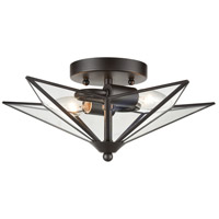 Dimond Lighting D4385 Moravian Star 2 Light 14 inch Oil Rubbed Bronze/Clear Flush Mount Ceiling Light, Small