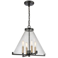 Dimond Lighting D4437 The Holding 4 Light 17 inch Matte Black / Satin Brass Pendant Ceiling Light