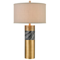 Dimond Lighting D4503 Reinhold 31 inch 150 watt Aged Brass / Black Marble Table Lamp Portable Light
