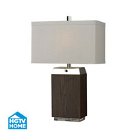 HGTV Home 27 inch 60 watt Dark Wood Veneer / Acrylic / Silver Plated Table Lamp Portable Light