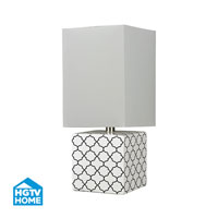 HGTV Home 23 inch 100 watt Gloss White / Black Table Lamp Portable Light
