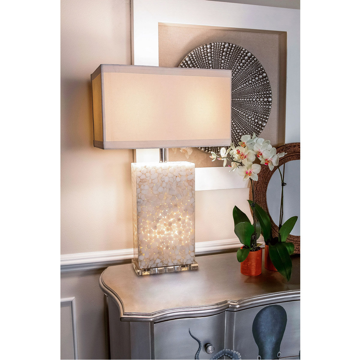 Dimond Lighting 305c River Rock Table Lamp Cream 810937003056 Ebay