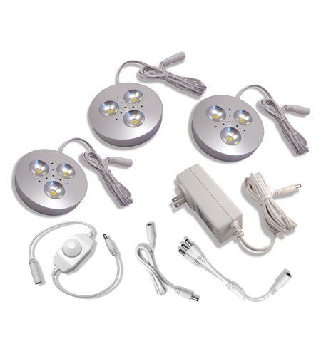 Diode LED Cast Dimmable Brushed Aluminum 3 Puck Light Kit in Warm White DI-0183 photo