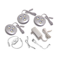 Diode LED Cast Dimmable Brushed Aluminum 3 Puck Light Kit in Warm White DI-0183