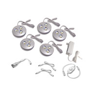 Diode LED Cast Dimmable Brushed Aluminum 5 Puck Light Kit in Warm White DI-0185