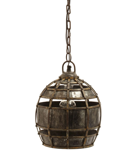 Dimond Home 135008 Fortress 1 Light 9 inch Distressed Silver Pendant Ceiling Light, Round