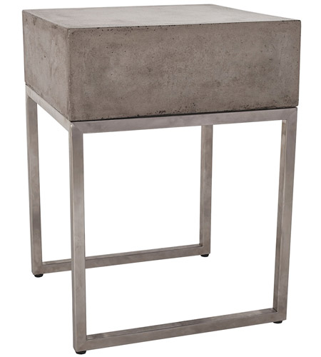 Dimond Home 157-028 Bulwark 20 X 16 inch Waxed Concrete and Stainless Steel Side Table
