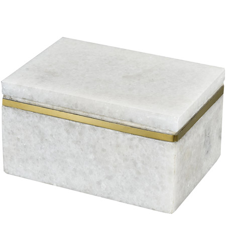 Dimond Home 4209-050 Buenos Aires 5 X 4 inch White Marble and Gold Box