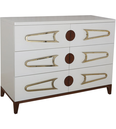 Dimond Home 7011-1516 Bang Cappuccino Foam and Polished Brass and Brown Stain Chest, 3 Drawer