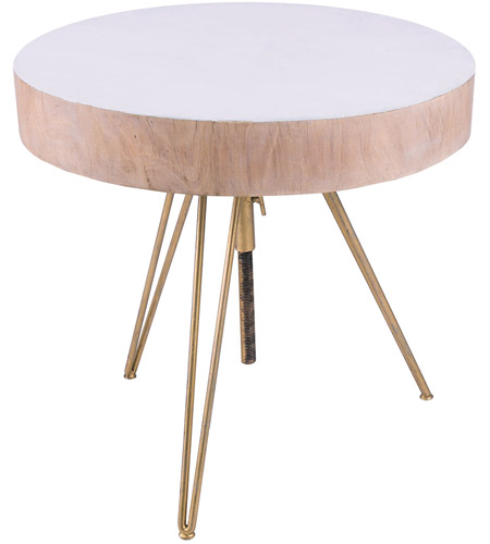 Dimond Home 7159-060 Biarritz 21 X 21 inch White and Gold Side Table