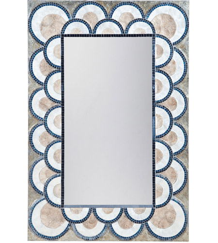 Dimond Home 7163-071 Art Deco Mosaic 47 X 32 inch Natural Capiz and Navy Blue Wall Mirror