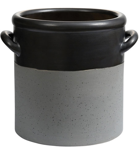 Dimond Home 857-189 Blackstrap Matte Metallic Black and Stained Dove Grey Pot