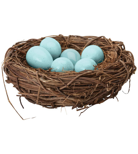 Dimond Home 857098 European Starling Blue Decorative Eggs In Nest