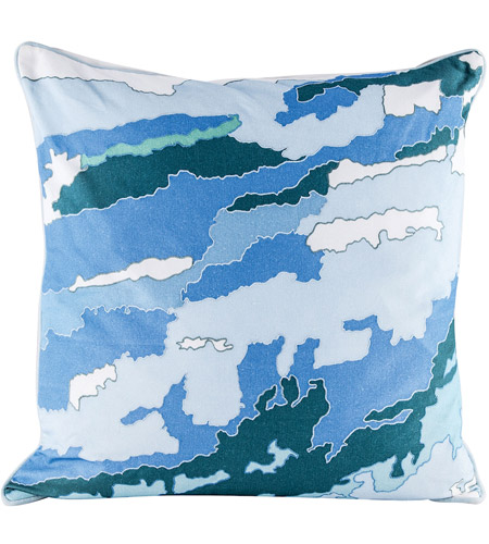 Dimond Home 8906-006-C Blue Topography 24 inch Digital Print with Embroidery Pillow Cover