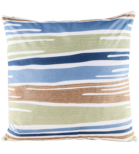 Dimond Home 8906-009-C Blue Green Drapes 24 inch Digital Print with Embroidery Pillow Cover