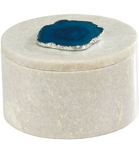 Dimond Home 8989-022 Antilles 6 X 6 inch White Marble and Blue Agate Box, Round