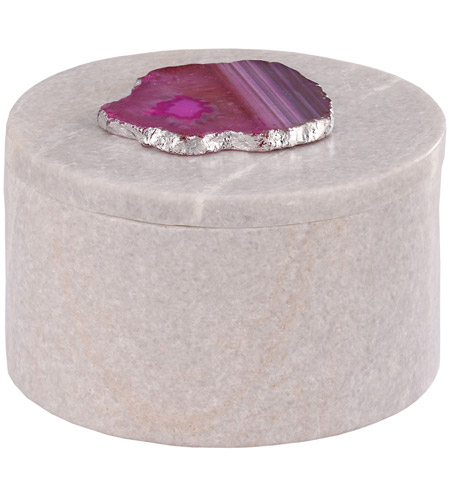 Dimond Home 8989-024 Antilles 6 X 6 inch White Marble and Pink Agate Box, Round