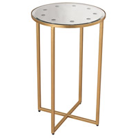 Cross Base 26 X 16 inch Antique Gold Side Table, Mirror Top
