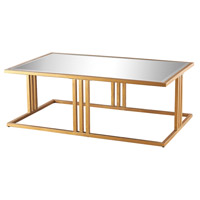 Andy 50 X 30 inch Gold Leaf and Clear Mirror Coffee Table Home Decor