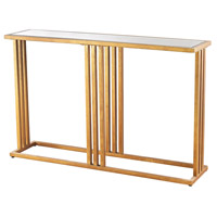Andy 50 X 12 inch Gold Leaf and Clear Mirror Console Table Home Decor