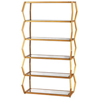 Anjelica Gold Leaf and Clear Mirror Bookshelf