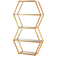 Vanguard Gold Leaf and Clear Mirror Bookshelf
