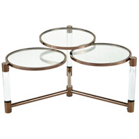 Triple Crown 35 inch Clear Acrylic with Cafe Bronze Plate Coffee Table Home Decor
