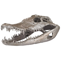 Crocodile Skull Silver Leaf Decor