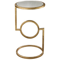 Hurricane 12 X 12 inch Antique Gold Leaf and Mirror Side Table Home Decor, Mirrored Top