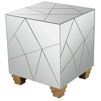 Mirrored Mosaic 19 inch Mirror and Gold Accents Stool, Cube Foot