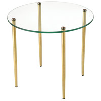 On Point 16 inch Gold and Clear Accent Table, Round