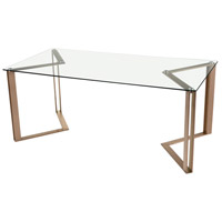 Acuity 71 X 36 inch Rose Gold and Clear Dining Table