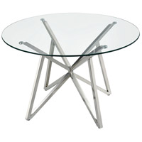 Worlds Fair 48 inch Polished Nickel and Clear Dining Table