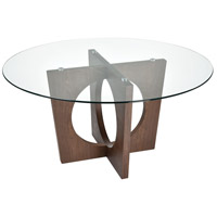 Atria 60 inch Walnut and Clear Dining Table