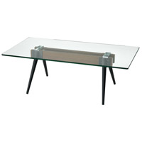 Meatpacking 48 X 24 inch Walnut and Bronze and Clear Coffee Table