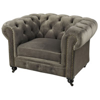 Signature Dark Wood Tone with Grey Velvet Chair