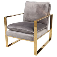 Old Sport Grey Velvet with Gold Plate Chair Home Decor