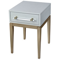 Girl Friday 24 X 16 inch Light Grey and Gold with Clear Acrylic Accent Table